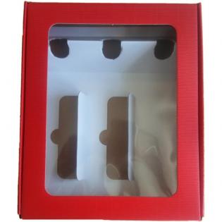 Caja 3 botellas roja con ventana